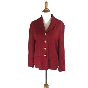 St. John Collection Red Cardigan Sweater Size 12
